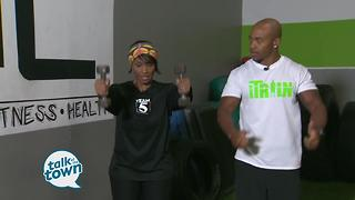 Fitness Trainer Gerell Webb shows exercises to work arms and shoulders - Video