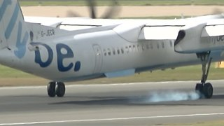 Plane Successfully Makes Emergency Landing Despite Burst Tire - Video