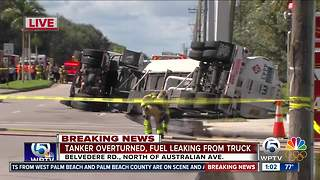 Tanker spills thousands of gallons of fuel near PBIA - Video