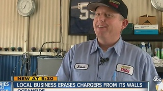 Local business erases Chargers from its walls - Video