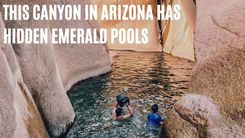 This Pink Slot Canyon In Arizona Is Home To Dreamy Emerald Swimming Pools