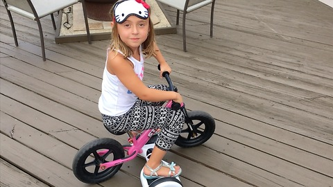 Clever Girl Uses Hover-Board To Make Pedal-Less Bike Move