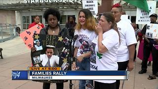 Families of people killed by police rally in Red Arrow Park - Video