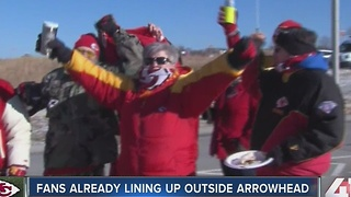 Fans already lining up outside Arrowhead - Video