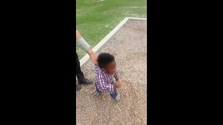 Toddler Throws Hilarious Tantrum When It's Time To Leave The Park - Video