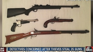 Detectives concerned after thieves steal 35 guns - Video