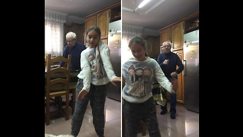 "Girl Dances To ""Despacito"", Doesn't Realize Her Grandpa Dances In The Background"