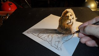 How to draw a 3D lion - Video