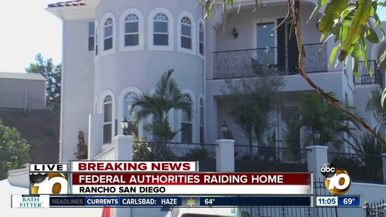 Federal authorities raid Rancho San Diego home