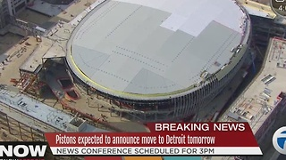 Detroit Pistons to announce move to downtown Detroit on Tuesday, sources say