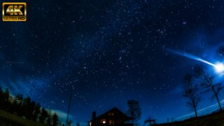 Breathtaking mountain cabin time lapse of night sky