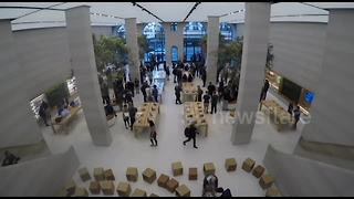 Few queue to buy new iPhone 8 at Regent Street Apple store - Video
