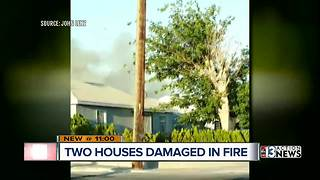 Two houses damaged in Downtown Las Vegas fire - Video