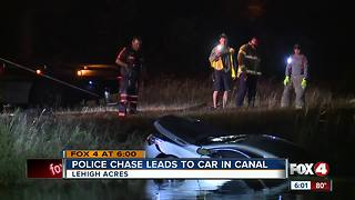 Police chase leads to car in canal - Video