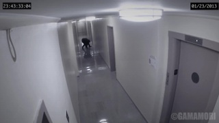 Security Camera Captures A Strange Figure Attacking A Man In A Hallway  - Video