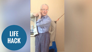 Elderly man's simple solution to helping Parkinson's sufferers put a coat on