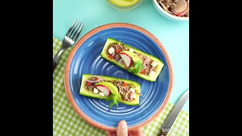 Zucchini Boats with Shredded Beef