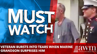 VETERAN BURSTS INTO TEARS WHEN MARINE GRANDSON SURPRISES HIM - Video