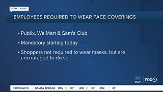 Publix, Walmart & Sams Club require workers to wear face coverings