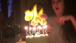 Birthday Girl Sets Cake On Fire - Video