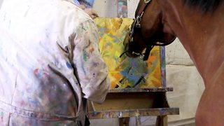 Looks like a mo-neigh! Retired racehorse finds new career as an artist - Video