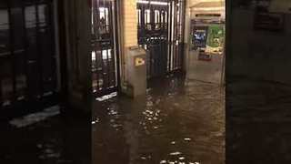 Water Gushes Down Stairs at West 145 Street Subway - Video