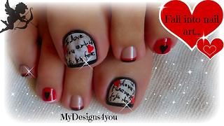 Valentine's Day love letter toenail art