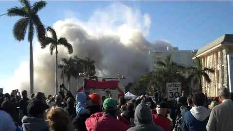Demolition Of Thirty Story Building Causes Thick Layer Of Dust And Smoke
