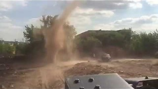 Dust Devil invades building site - Video