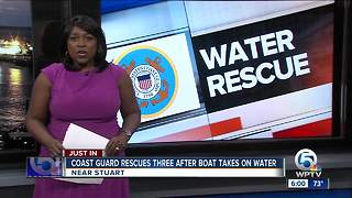 Three rescued from boat by Coast Guard off Stuart - Video