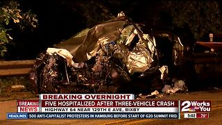 Five hospitalized following three-vehicle crash in Bixby - Video