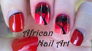 African night ombre nail art - Video