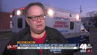 Humanitarian returns weeks after bad accident - Video