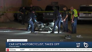 Car sought in hit-and-run that injured motorcyclist