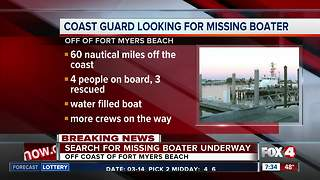 Coast Guard searching for missing boater off Lee County - Video