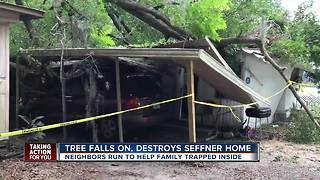 Neighbors rescue family of six after tree crushes home, trapping them inside