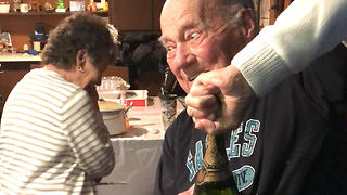 Eagles Fan Opens Champagne He's Been Saving Since 1980 - Video