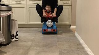 Mother and Her Baby Ride Thomas The Train Into The Weekend - Video