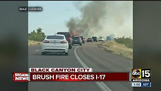 Brush fire shuts down both directions of I-17 near Sunset Point on Sunday - Video