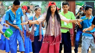 Cute Girl Dancing In Chicken Style At Cambodia Wonder Of Kingdom Angkor Siem Reap