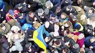 Drone Footage Shows Saakashvili Supporters Freeing Him From Van After Arrest - Video