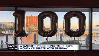 Wyandotte police officers throw birthday party for 100-year-old woman