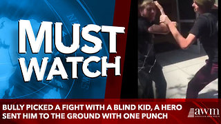 bully picked a fight with a blind kid, a hero sent him to the ground with one punch - Video