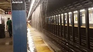 'Train Station Waterfall' Forms as Flooding Hits New York Subway