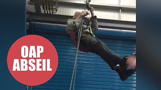 Britain's oldest daredevil has completed his latest age-defying stunt - a trial abseil - Video