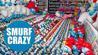 Father and son have spent four years building the world's largest collection of Smurf memorabilia