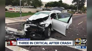 Three injured in crash in Chandler - Video
