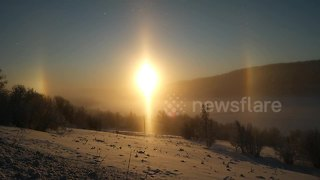 Beautiful sun dog appears on Swedish horizon - Video