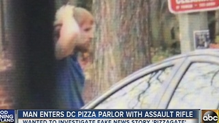 Man enters DC pizza parlor with assault rifle - Video