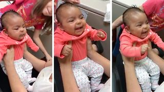 Adorable moment a baby hears its mother's voice for the first time  - Video